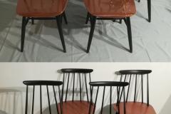 Fanett-tuolien kunnostus. Pieniä puukorjauksia ja uusi maali.
