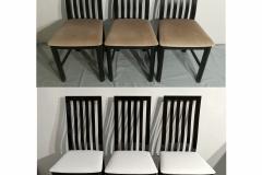 Puolet kuuden tuolin sarjasta valmiina. Puuosat maalattu kiiltävällä mustalla ja istuimet päällystetty valkoisella keinonahalla.