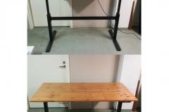 Sähköpöytä: pöytälevyn koko 155 cm x 76 cm, korkeus 70-120 cm. Omaan käyttöön valmistettu pöytä, jossa runko pulverimaalattua teräsputkea.